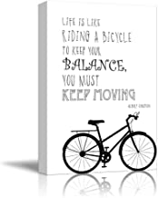 wall26 - Black and White Quote - Life is Like Riding a Bicycle, to Keep Your Balance, You Must Keep Moving by Albert Einstein - Canvas Art Home Decor - 16x24 inches