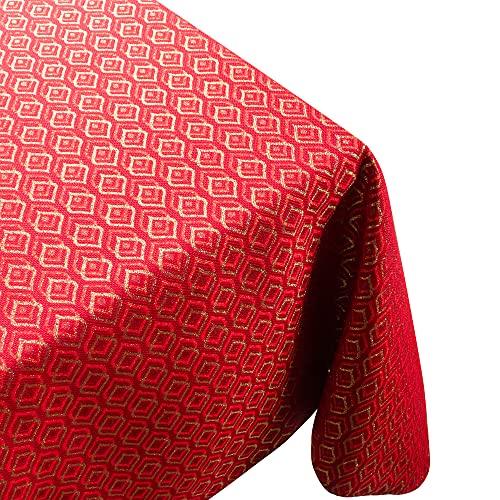 Viste tu hogar Mantel con Hilo Dorado, 140 x 140 CM, Especial para Decoración de Hogar con Diseño de Diamantes, Ideal para Cenas Familiares, Cumpleaños y Otras Fechas Especiales, Color Rojo.