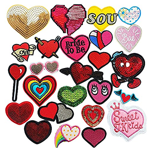 Dandan DIY Thinksgiving Valentine's Day Love Heart Embroidered Patch Sew/Iron Patch Applique Clothes Dress Plant Hat Jeans Heart 24pcs