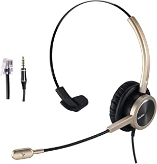 Telephone Headset with RJ9 for Cisco Phone Call Center Headset with Noise Cancelling Microphone with Extra 3.5mm Connector for Mobiles