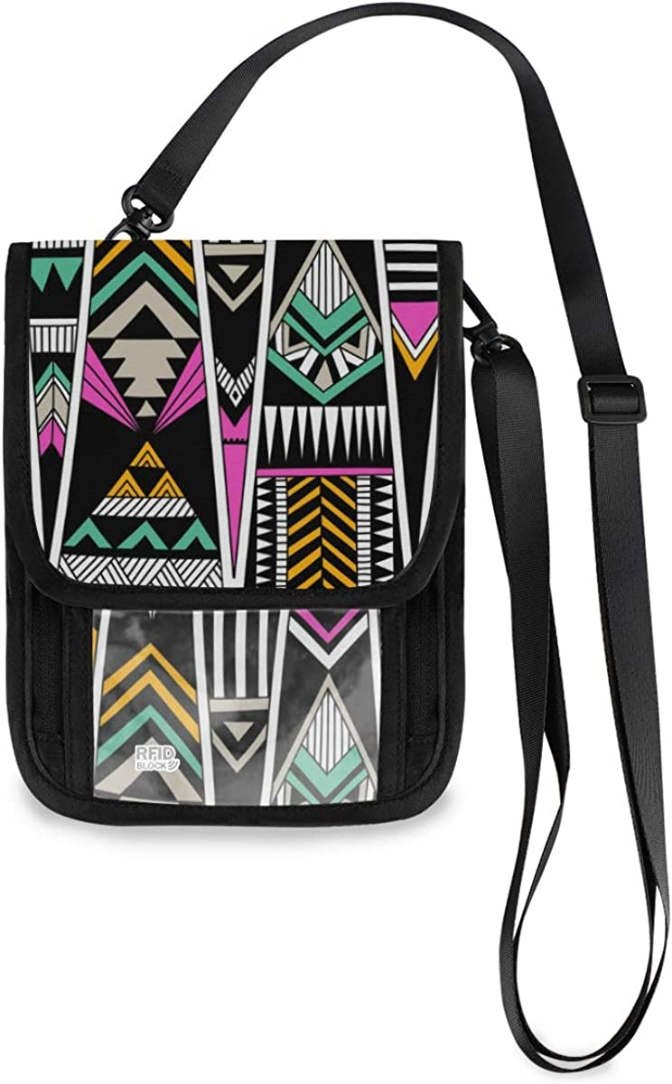 VIKKO Abstract Geometric Tribal Art 4 years warranty RFI Wallet Rapid rise Neck Travel With