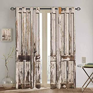 DONEECKL Rustic Blackout Curtain Vintage House Entrance with Vertical Old Planks Distressed Rustic Hardwood Design Waterproof Fabric W52 x L54 Inch Brown White