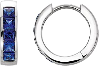 Jewels By Lux Set 14k White Gold Pair Polished Chatham Created Blue Sapphire Hoop Earrings