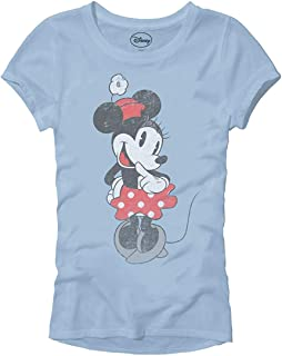 Shy Minnie Mouse Classic Vintage Disneyland World Adult Women's Juniors Slim Fit Graphic Tee T-Shirt Apparel