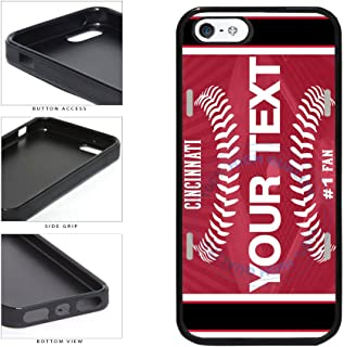 BleuReign(TM) Personalized Custom Name Baseball Cincinnati License Plate TPU RUBBER SILICONE Phone Case Back Cover For Apple iPhone 5 5s and iPhone SE