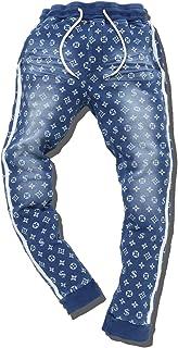 slow&easy【カットデニム モノグラム 総柄 ジョガーパンツ】メンズ パンツ 柄パンツ《おしゃれなモノグラム柄 カジュアルファッション スポーティーファッション サイドの2ラインが美脚効果》スウェット ズボン