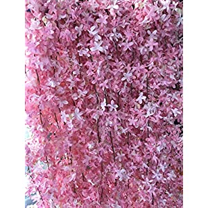 Artificial Silk Cherry Blossom Flower Vine Hanging Garland Home Wedding Party Decor, Pack of 4 (Pink)