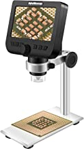 LCD Digital Microscope, ONETEKS WiFi 4.3 inch 50X-1000X Magnification Zoom HD 1080P 2 Megapixels Compound 2600 mAh Battery USB Microscope with Aluminium Alloy Professional Base Stand