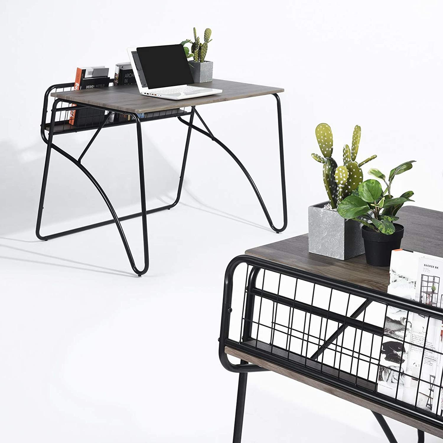 House in Box Modern Corner Computer Desk Wood & Metal PC Latop Study Table Workstation Home Office