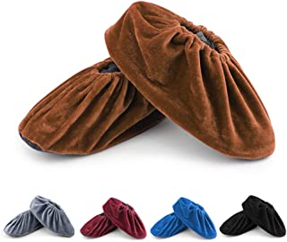 FOCCTS 5 Pairs Reusable Shoe Covers for Indoor, Non-Slip Washable Thickened Boot Covers for Household, Dust-free Workshop, Office, Machine Room and Realtors (5 Colors)
