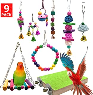 Mrli Pet 9 Pack Bird Parrot Swing Chewing Toys- Natural Wood Hanging Bell Bird Cage Toys Suitable for Small Parakeets,  Cockatiels,  Conures,  Finches, Budgie, Macaws,  Parrots,  Love Birds