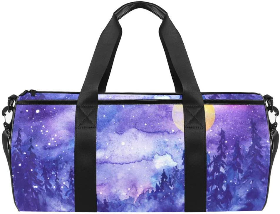 AISSO Duffel Bag for Women Men Atlanta Mall Night Forest Houston Mall Full Moon With Tree