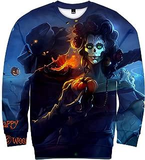 TTOOHHH Men's Halloween Couple Skeleton Print Long Sleeve Pullover Sweatshirt Outwear T-Shirt