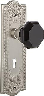 Nostalgic Warehouse 725613 Meadows Plate with Keyhole Privacy Waldorf Black Door Knob in Satin Nickel, 2.75