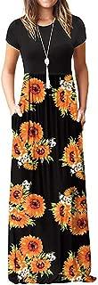 Aniywn Women Printed Floor-Length Maxi Dress Sunflower O-Neck Short Sleeve Casual Bohemian Long Dress