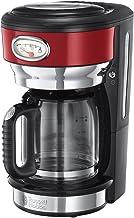 Russell Hobbs Kaffeemaschine Retro rot, bis 10 Tassen, 1,25l Glaskanne, Brüh- & Warmhalteanzeige im Retrodesign, Abschaltautomatik, Warmhalteplatte, 1000W, Vintage Filterkaffeemaschine 21700-56