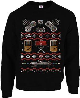 Graphic Impact Inspired Classic Vintage 8bit Gaming Gamers Nostalgic Ugly Christmas Xmas Sweater Jumper Sweatshirt