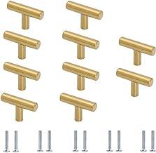 10 stuks ladeknoppen, één gat gouden kast knoppen, T handgrepen kast kast, keukenkast deurgrepen, met schroeven, voor dres...