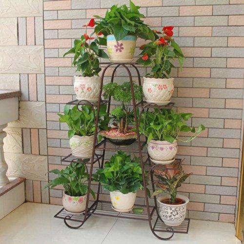 CKH Parfumé Multi-couche Intérieur Balcon Rack Fer Forgé Bois Massif Espace de Séjour Pot de Fleurs Plancher Vert Radis Rack Bronze
