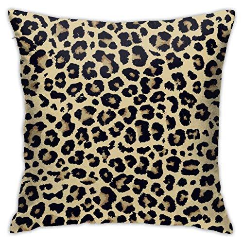 Fundas de Almohada, Fundas para Cojines de Lino Funda de Almohada Estampado de Leopardo Funda Cojin Decorativa de Casa para sofá Dormitorio Coche,45x45CM