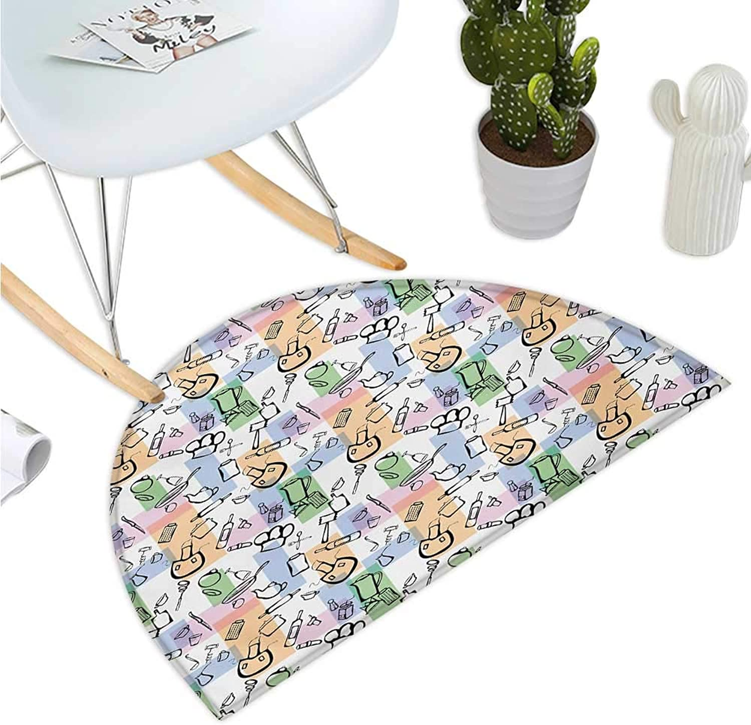 Abstract Semicircular Cushion Kitchen Stuff and colord Rectangles Cuisine Chefs Table Artistic Illustration Entry Door Mat H 39.3  xD 59  Multicolor