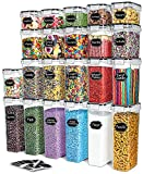 Airtight Food Storage Containers Set,TAEVEKE 22 PCS BPA Free Cereal & Dry Food Storage Containers,Kitchen & Pantry Organization Canisters with Lids for Cereal, Flour, Sugar,Dishwasher safe (Black)