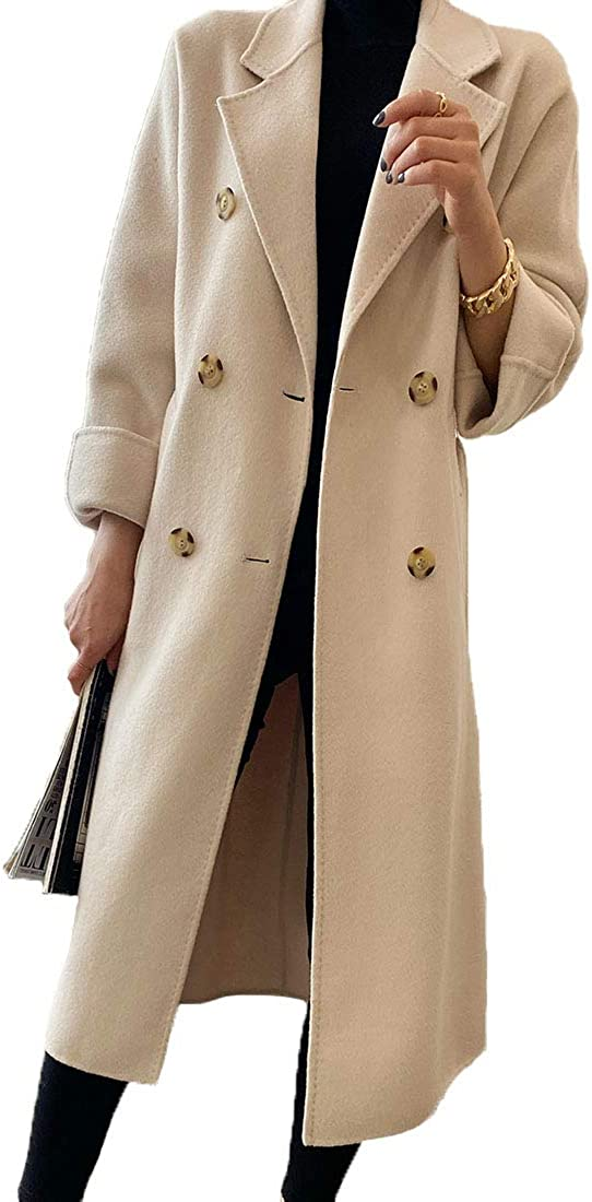 Generic Herbst und Winter 2020 Frauen Doppelgesicht Mantel Lange lose High-End Wolle Mantel Beige