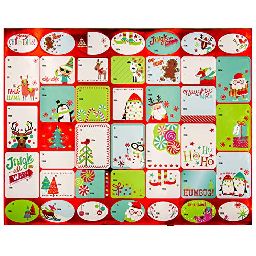 Paper Craft 120 Christmas Holiday Self Adhesive Gift Tag Labels for Boys, Girls