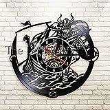 UIOLK Reloj de Pared Negro Disco de Vinilo Retro Arte de la Pared Sala de Estar Decoración de Pared única