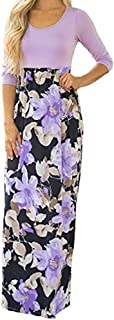 HODOD Elegant Women's Sleeveless Floral Print Maxi Dresses Plus Size Long Dress with Pockets