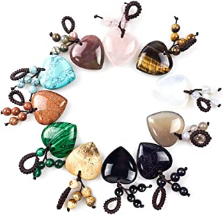 Gem 8 Pieces 30mm Heart Shape Natural Stone Pendants Chakra Reiki Love Charm Bulk for Jewelry Making
