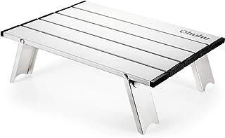 Ohuhu ロールテーブル ミニテーブル 軽量 アルミ アウトドア用 折りたたみ式 机 キャンプ BBQ 登山 ツーリング レジャー ケース付