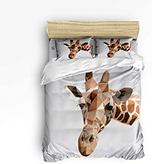 GreaBen Twin Size 4 Piece Comfortable Bedding Set Duvet Cover Sets for Teenage Kids Girls Boys,Cute Giraffe Head Animal Pattern Unisex Bed Sheet Sets,1 Duvet Cover 1 Flat Sheet and 2 Pillow Cases
