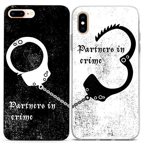 Lex Altern Couple Cases Compatible with iPhone 12 Pro Max 11 Mini SE Xr Xs 8 Plus 7 6 White Lightweight Cute Handcuff Slim Silicone Partners in Crime Best Friend Relationship Black Soulmate