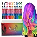 Qivange Hair Chalk Pens 12 Colors for Girls Kids Birthday Gifts Toys Hair Painting,Temporary Washable Bright Hair Color Non-Toxic Hair Dye for Face Cosplay Birthday Party Halloween Christmas DIY