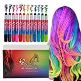 Qivange Hair Chalk Pens 12 Colors for Girls Kids St Patricks Day Makeup Gift Toys,Hair Color Painting Temporary Washable Bright Non-Toxic Hair Dye for Cosplay Party Birthday