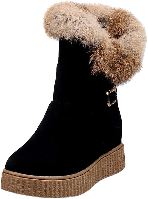 RizaBina Women Warm Flatform Snow Boots Pull On Buckle