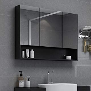 DZWLYX Bathroom Cabinet Mirror Bathroom Cabinet,LED Illuminated Bathroom Mirrors,Mirror Cabinet with Demister Heat Pad and Shaver Socket Wall Mount Pull Switch 607514 (Color : Standard, Size : 120cm)