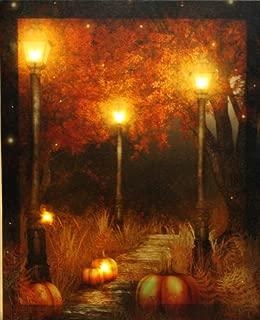 Oak Street Wholesale LED Lighted Pumpkin Fall Scene Canvas Wall Art Harvest
