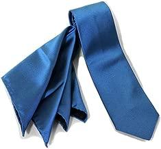 (ジリー)ZILLI ネクタイ ポケットチーフ セット シルク プリント 細身 ブルー