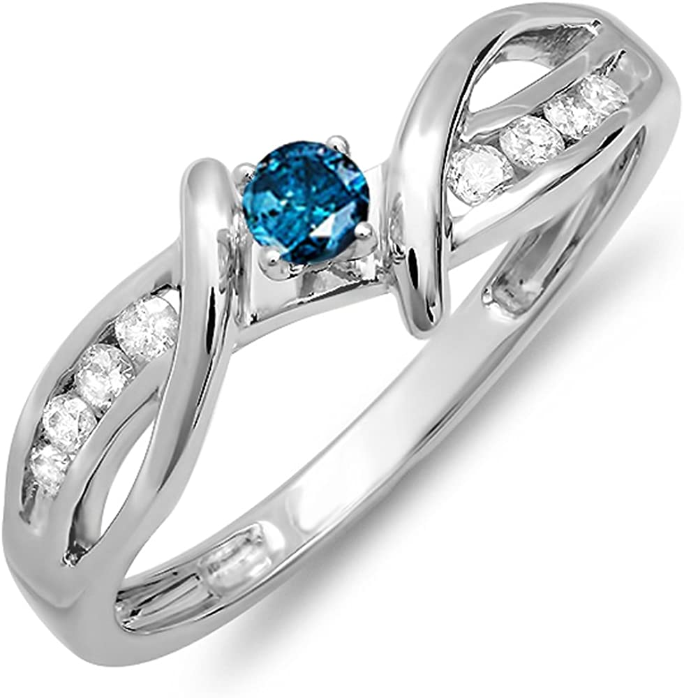 Dazzlingrock Collection 0.25 Carat (ctw) 14k Blue And White Diamond Crossover Split Shank Bridal Promise Ring 1/4 CT, White Gold
