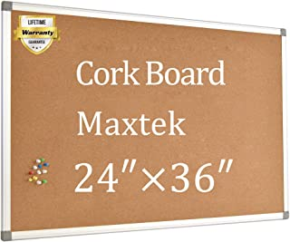 Cork Board Bulletin Board – 24 x 36 Message Board Wall Mounted Pin Board Aluminum Framed with 12 Pins