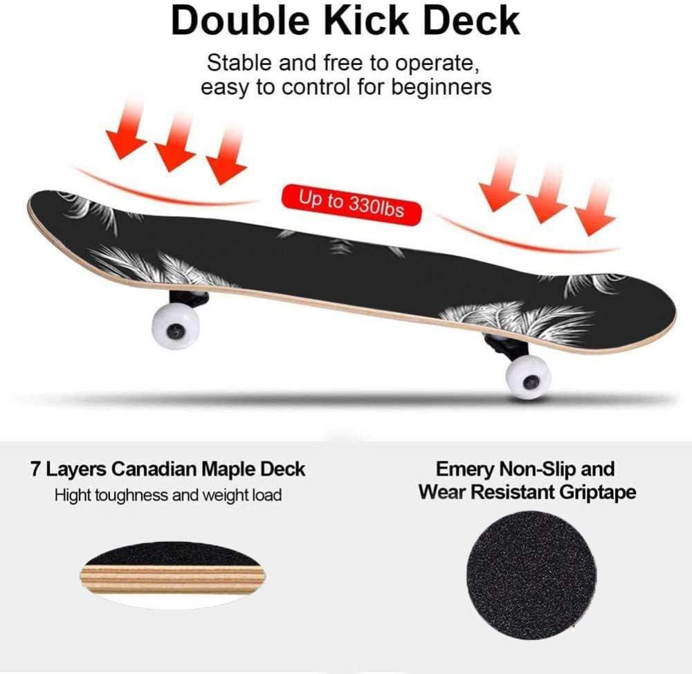 Patineta 80 x 20 patineta Completa para Principiantes patineta de Truco de Arce patineta de Truco de 7 Capas con rodamiento ABEC-11