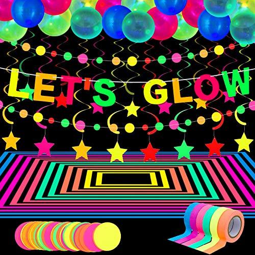 Suministros Brillantes de Neón de Fiesta, 98,4 Ft 6 Rollos Cintas de Luz Ultravioleta UV, 28,9 Ft 2 Guirnaldas de Papel Neón, Bandera de LET'S GLOW 10 Remolinos, 25 Globos Fluorescentes