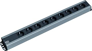 Bachmann 300.001 Steckdosenleiste, Handwerkerleiste, Steckdosenabstand 15mm mit 9xSchutzkontaktstecker und 2,0m Zuleitung, Schwarz, 9 fach