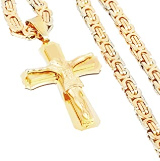 "Axmerdal Punk Style Men's Chain Cross Christ Jesus Byzantine Stainless Steel Double Layer Crucifix Pendant 24"" Necklace (Gold)"