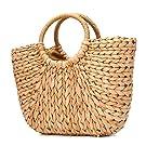 JOSEKO Summer Beach Bag, Women Straw Handbag Top Handle Big Capacity Travel Purse