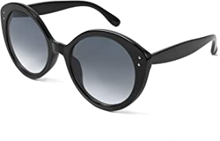 FEISEDY Retro Oversized Round Cat Eye Women Sungl Color Contrast Big Frame Double Metal Studs B2709