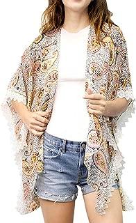 Paisley Pattern lace Trim Open Kimono Poncho Kimono Cardigan Swimsuit Cover ups for Women Beach wear