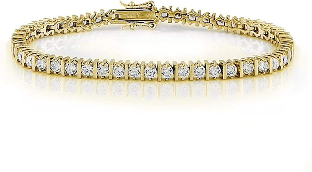 GemStar USA Round-Cut Cubic Now free New color shipping Zirconia Bar Fashion Tennis Bracelet